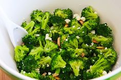 Kalyn's Kitchen: Recipe for Barely-Blanched Broccoli Salad with Feta and Fried Almonds