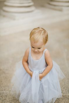 crazy cute flower girl in baby blue // photo by JenHuangPhotography.com