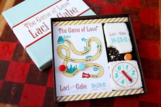 "LOVE this ""game of love"" theme, esp because my Gabe and I met over a board game! #wedding"