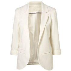 White Boyfriend Ponte Rolled Sleeves Blazer ($47) found on Polyvore