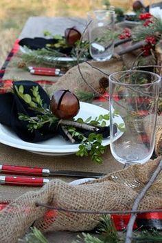 24 Inspiring Rustic Christmas Table Settings | DigsDigs table decorations, rustic charm, napkin rings, rustic table, christmas tables, jingle bells, rustic christmas, christmas table settings, holiday tables