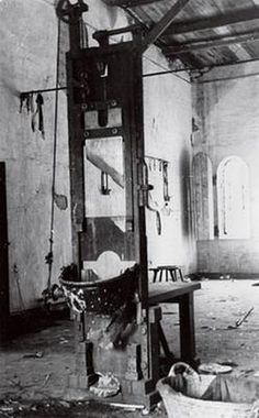 Guillotine in a room of tortures and executions. Prison Plötzensee. Berlin. Photographer Boris Sokolov.