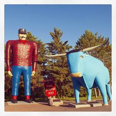 Paul Bunyan and Babe the Blue Ox are Minnesota icons and can be seen throughout the state. These statutes are located in #Bemidji, Minnesota. Have you taken your picture with Paul and Babe? #Minnesota #PaulBunyan #OnlyinMN