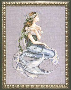 """Enchanted Mermaid"" is the title of this cross stitch pattern from Mirabilia that is stitched with DMC thread, Kreinik #4 Braid (014, 015, 0..."