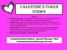 Speechie Freebies: Valentine's Token Strips. Pinned by SOS Inc. Resources. Follow all our boards at pinterest.com/sostherapy/ for therapy resources.
