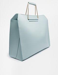 Image 2 ofASOS Leather Bag with Metal Handles