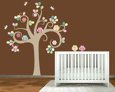 Wall Decal Tree With Owls Dragonfly Nursery Baby Girl
