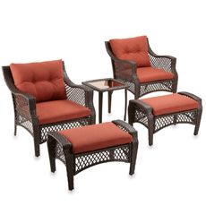5-Piece Deep Seat Wicker Lounge Set with Cinnamon Cushions - Bed Bath & Beyond