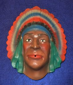 1940s Chalk String Holder Native American Indian Chief with Headress | eBay