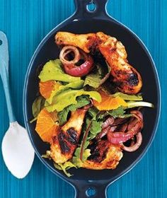 Grilled Chicken Legs With Orange and Rosemary recipe from realsimple.com #myplate #protein #vegetables #fruit