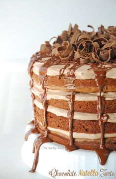 Chocolate Nutella Torte ~ A chocolate layer cake, filled with creamy Nutella mousse and topped with chocolate curls!