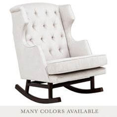 NURSERY WORKS EMPIRE ROCKER - tufted microsuede wingback rocker. $899