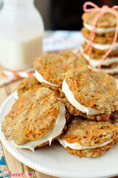 Carrot Cake Sandwich Cookies ~ mini carrot cake whoopie pies filled with cream cheese frosting make an easy, hand-held Easter dessert   FiveHeartHome.com