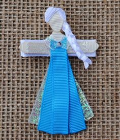 Snow Queen Elsa from Frozen INSPIRED Ribbon Sculpture Hair Clip or Christmas Tree Ornament (Disney Princesses and Heroines)