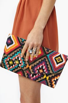 colorful, printed envelope clutch