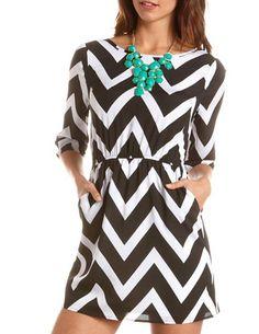 Chevron Stripe A-Line Dress: Charlotte Russe