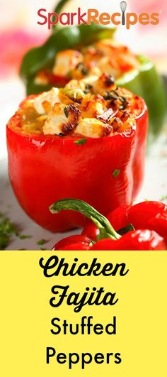 Chicken Fajita Stuffed Peppers: Ditch the tortilla to save calories and carbs and boost your daily veggies. Each serving also contains 32 grams of protein! | via @SparkPeople #food #dinner #healthy #recipe #Mexican