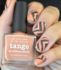 piCture pOlish Blog/Insta Fest 2014 - Tango & Malt-teaser + Right Angle NailVinyls = nails by La Paillette Frondeuse! Shop on-line: www.picturepolish.com.au