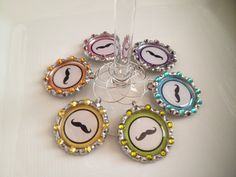 Mustache Wine Glass Charms