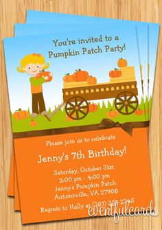 Kids Fall Pumpkin Patch Birthday Party Invitation - Boy or Girl -  Printable on Etsy, $14.99