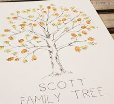Family Tree with fingerprints! Great family reunion idea.