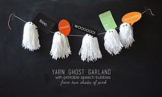 Yarn Ghost Garland- cute and easy homemade Halloween decoration!