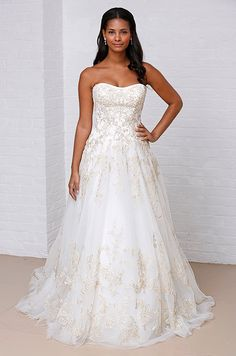 Gold embroidery on this wedding dress from David's Bridal, Spring 2013