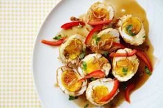 Son-in-law eggs (fried hard-boiled eggs in tamarind sauce)