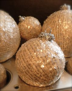 vintage-look Paper Christmas Ornaments - Living a Radical Life  -- use old paper scraps on glass, plastic, or styrofoam; mod podge & glitter