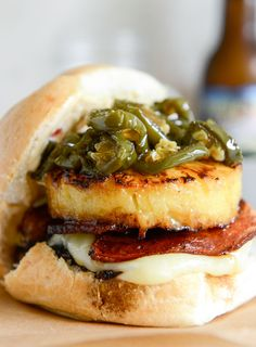 Bacon Pineapple Burgers Candied Jalapenos & Sweet Chili Mayo