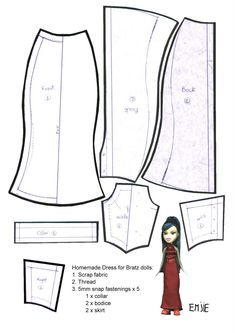 printable wedding dress pattern | Doll Dress Patterns For Every Occasion Doll Clothing Patterns
