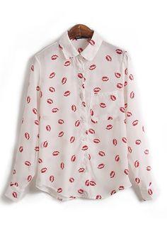 Multicolor Floral Buttons Lapel Long Sleeve Chiffon Blouse!