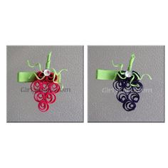 Hot Pink & Dark Purple Grape Ribbon Sculptures, hair clips