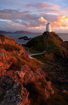 Llanddwyn lighthouse in evening light, North Wales
