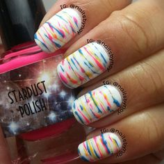 cut nail, nail colors, rainbow, stripe