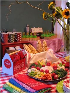 farm themed baby shower - could do this but use more of a color theme?