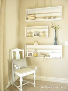 Crate Shelves.  Are not only practical, but fabulous!  You can build your own shelves using scrap wood.  Make them in different sizes for dimension and add your favorite trinkets.