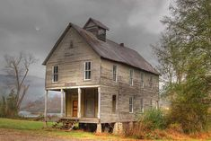 The abandoned Hiwassee Union Church in Reliance, TN.   Love the upper level and the front porch.  Built in 1899.