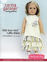 Little Love Nest Ruffle Dress Mini PatternCarina Gardner Sewing Pattern ag pattern, doll dress, sewing patterns