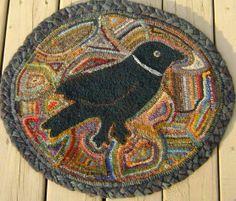 hook rug, rug hooker, rughook, background, crow
