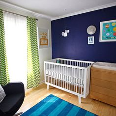 """Navy accent wall w/lime green and rest of walls white"""""""