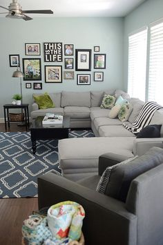 wall colors, living rooms, couch, color schemes, photo walls