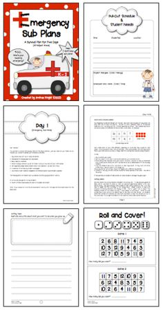 """LINK to """"Emergency Sub Plans"""" :  http://www.teacherspayteachers.com/Product/Emergency-Sub-Plans-A-5-Day-Survival-Plan-for-K-1-Teachers-742554  Save yourself a lot of time and anxiety by being prepared for an unexpected sick day... or worse dayS.  This pack includes 5 days worth of complete lesson plans for the K-1 classroom.  Check out the free preview at the link above.  (74 pages, $)"""