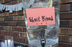 Easy #Halloween Party ideas. Do you think kids will drink more or less water if they think its ghost blood?
