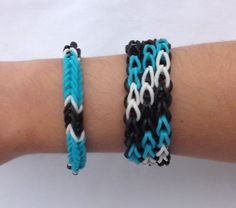 Triple Single Diagonal Cuff Rainbow Loom Made Bracelet with Fishtail Blue   eBay