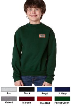 #jerzees #youth #crewneck #corporate #sweatshirts $18.53   Features: Pill-free 50% cotton, 50% polyester NuBlend; double-needle cover-seamed neck, armholes, shoulder and bottom band; seamless body; set-in sleeves; 1x1 ribbed collar, cuffs and waistband with spandex; 9.5-ounce.  http://ezcorporateclothing.com/custom/64-Youth-Apparel/888-Jerzees-Youth-Super-Sweats-Crewneck/