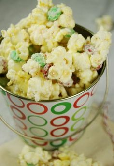 white christmas foods | Christmas White Chocolate-Peppermint Popcorn