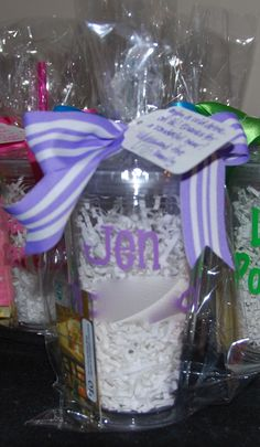 Fill tumbler with shredded paper so names/design pop- cute gift