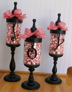 3 apothacary jars with tops, candy, stock card letters with ribbon :)