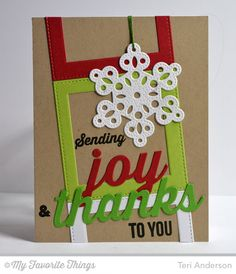 Merry Messages, Peace Love Joy Die-namics, Pierced Snowflakes Die-namics, Stitched Rectangle STAX Die-namics - Teri Anderson #mftstamps